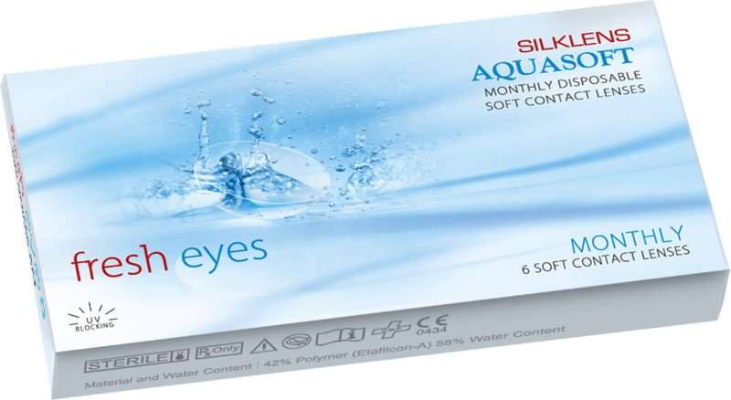 Aquasoft Fresheyes Monthly Contact Lens(-3.00, Clear, Pack of 6)
