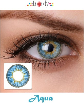 Trendy Ocean Aqua Monthly Contact Lens(Zero Power, Aqua, Pack of 2) at flipkart