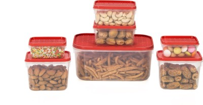 All Time Polka  - 125, 250, 400, 1800 ml Plastic Multi-purpose Storage Container(Pack of 7, Red)