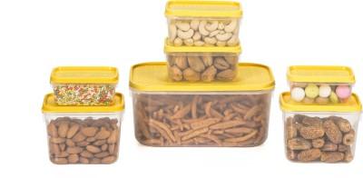 All Time Polka  - 125, 250, 400, 1800 ml Plastic Multi-purpose Storage Container(Pack of 7, Yellow)