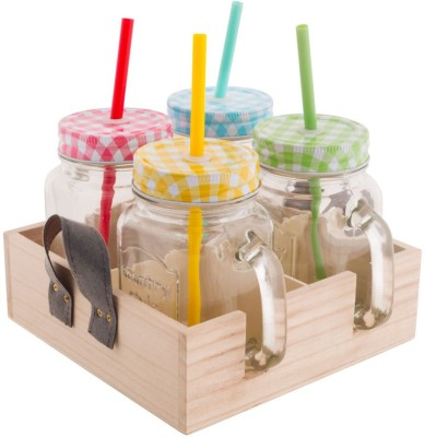 Chumbak The Brunch Mason Jar Set - Teak Finish  - 450 ml Glass Food Storage(Multicolor) at flipkart