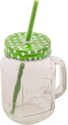 Chumbak Polka Dot Mason Jar-Green  - 450 ml Glass Food Storage(Green) at flipkart