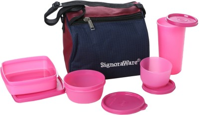 Signoraware Best Lunch with Bag  - 350 ml, 200 ml, 370 ml, 200 ml Plastic Food Storage