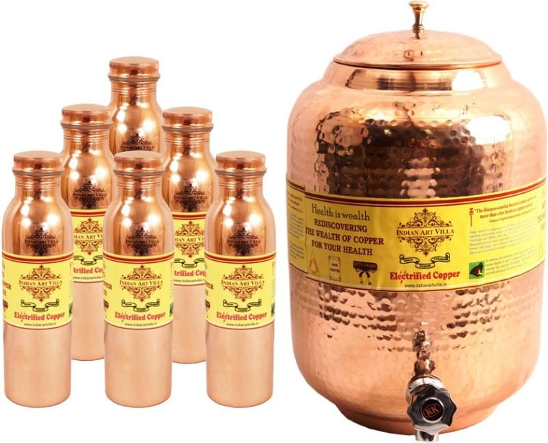 IndianArtVilla - 10900 ml Copper Multi-purpose Storage Container(Pack of 7,...