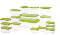 All Time Polka  - 125 ml, 250 ml, 400 ml, 600 ml, 1200 ml, 1500 ml, 3000 ml Plastic Multi-purpose Storage Container(Pack of 17, Green)