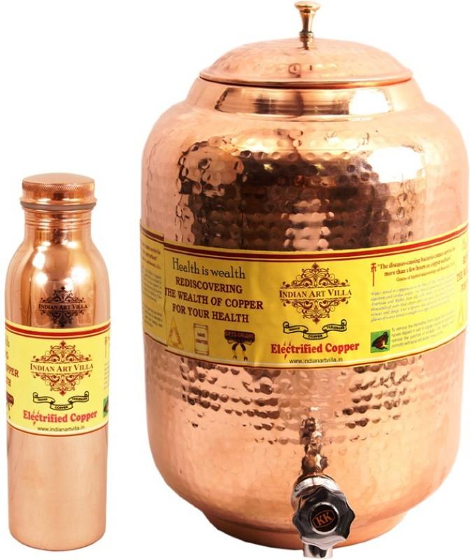 Indian art villa 1 Copper Water Pot 5.5 Liter with...