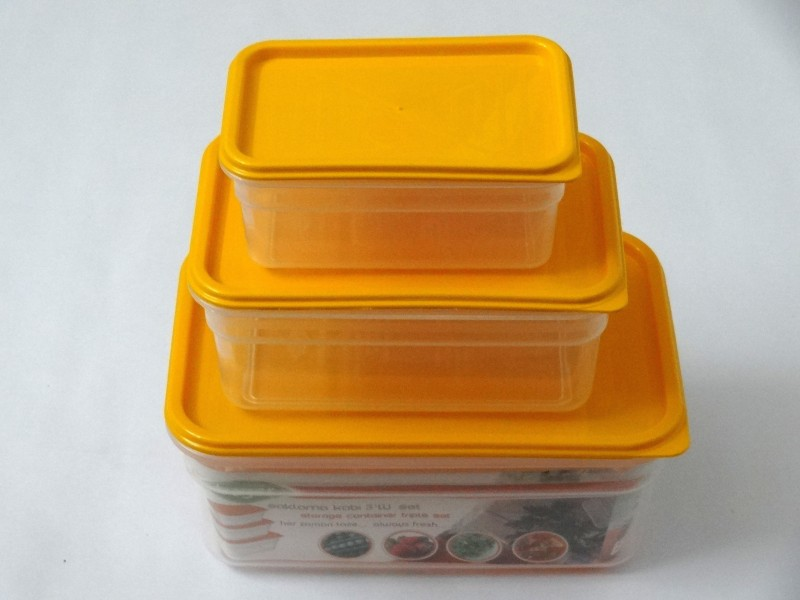 Bager  - 2 L Polypropylene Food Storage(Pack of 3, Orange)