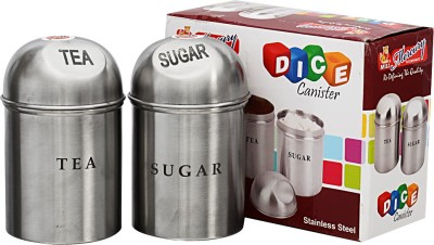 MiLi DICE TEA SUGAR CANISTER  - 1000 ml Stainless Steel Tea, Coffee & Sugar Container
