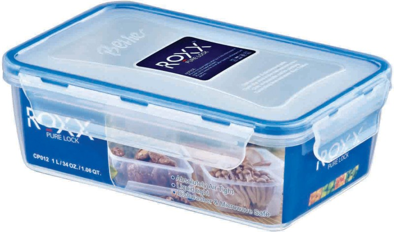 Roxx 1L Pure Lock Food storage  - 1000 ml Plastic Food Storage(White, Blue)