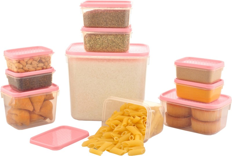 All Time Polka 10 Pieces  - 250 ml, 2000 ml, 125 ml, 400 ml, 500 ml Plastic Food Storage(Pack of 10, Pink)