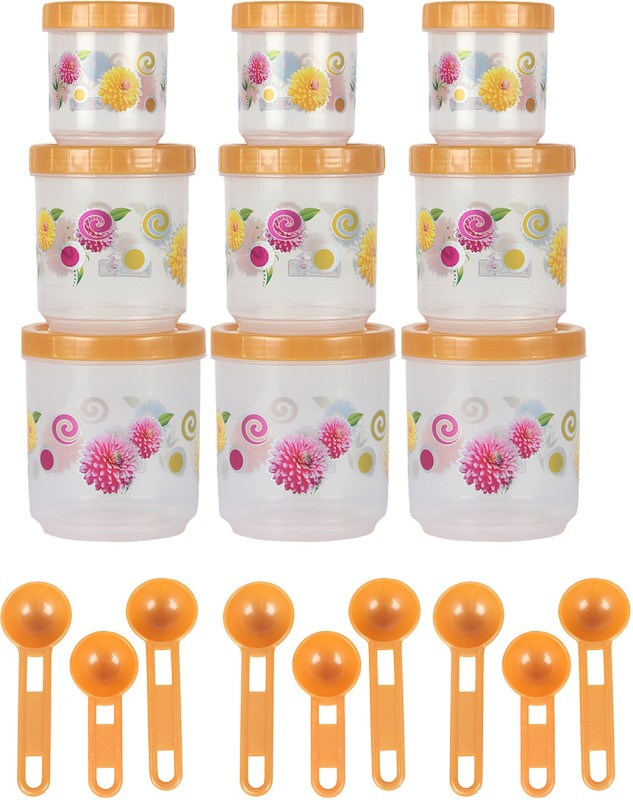 Zolo Pikaso Floral Pattern  - 250 ml, 500 ml, 700 ml Plastic Food Storage(Pack of 18, Yellow)