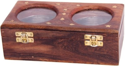 BKDT Marketing Wooden Handicraft Hand Made Beautiful Dry Fruit - 2 Bowl  - 200 ml Wooden Food Storage