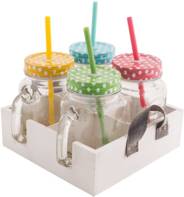 Chumbak The Brunch Mason Jar Set - Ivory  - 450 ml Glass Food Storage(Multicolor) at flipkart