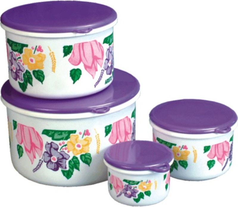Aristo Houseware Glory Flower Print  - 3000 ml Plastic Food Storage(Pack of 4, Multicolor)