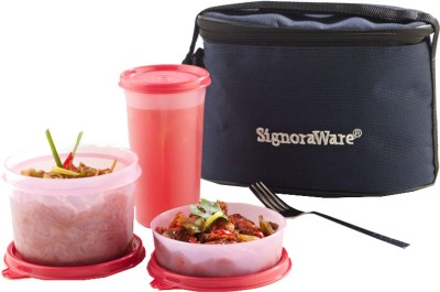 Signoraware Combo Executive Lunch (Small ) with Bag - 450 ml, 360 ml, 370 ml Plastic Food Storage
