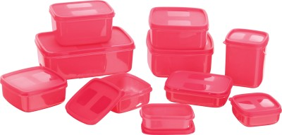MasterCook - 330 ml, 1000 ml, 1350 ml, 700 ml, 780 ml, 500 ml, 150 ml, 1630 ml, 200 ml Plastic Food Container (Pack of 10, Pink)