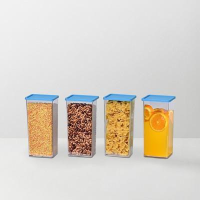 Disha Unbreakable Foodgrade Transparent 4 XL Containers blue  - 1225 ml Plastic Food Storage
