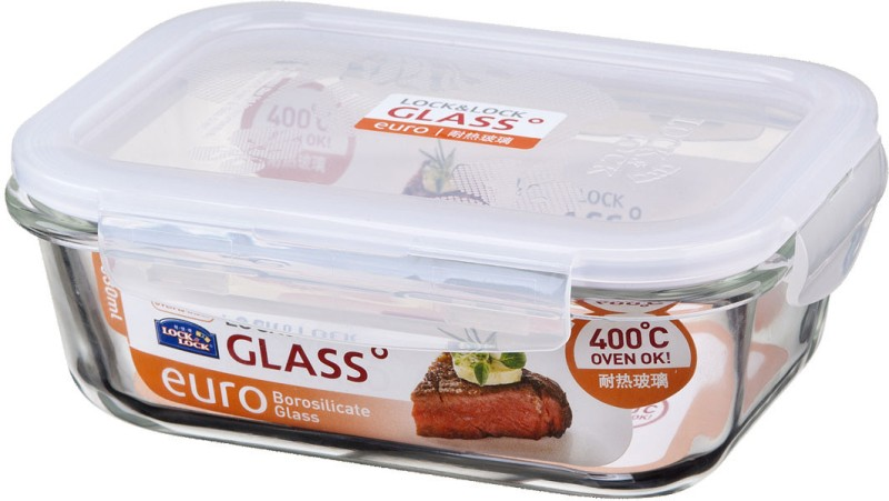 Lock & Lock Borosilicate Rectangular Heat Resistant Glass  - 630 ml Glass Food Storage(Clear)