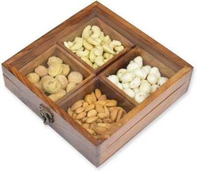 Skywoods Wooden Dry Fruit Box  - 300 ml Wooden Multi-purpose Storage Container