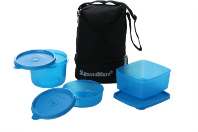 Signoraware Trio Lunch Box With Bag  - 450 ml, 500 ml, 360 ml Plastic Food Storage