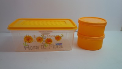 Nayasa containers  - 2000 ml, 350 ml Plastic Food Storage(Pack of 3, Yellow, Orange)