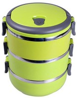 Plastron Triple Layer Lunch Box (Green)  - 1 L Plastic, Stainless Steel Food Storage