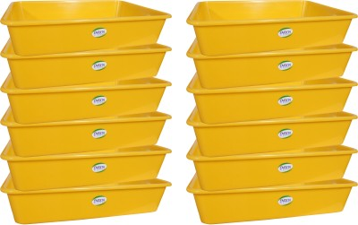 ENRICH Plastic  - 7 L Plastic Multi-purpose Storage Container(Pack of 12, Yellow)