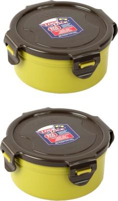 Lock & Lock Classics Round  - 300 ml Polypropylene Multi-purpose Storage Container(Pack of 2, Green, Brown) at flipkart