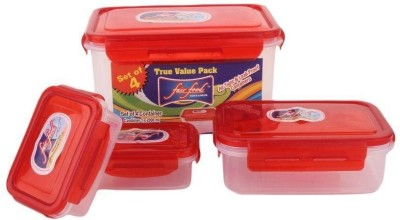 FAIR FOOD  - 2000 ml Polypropylene, Plastic Multi-purpose Storage Container(Pack of 4, Clear, Red)