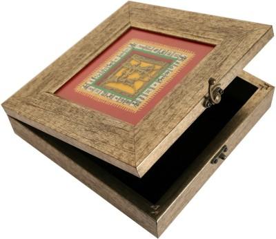 Indikala Grey Square Warli Dhokra Box Vanity Box