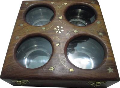 BKDT Marketing Wooden Handicraft Hand Made Beautiful Dry Fruit - 4 Bowl  - 800 ml Wooden Food Storage
