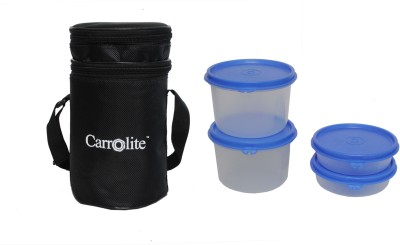 Carrolite Carrolite Round 4 Plastic Containers Lunchbox Black- 4 Pieces 4 Containers Lunch Box