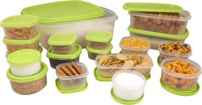 Princeware Plastic Multi-purpose Storage Container(Pack of 18, Green)
