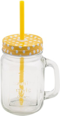 Chumbak Polka Dot Mason Jar-Yellow  - 450 ml Glass Food Storage(Yellow) at flipkart