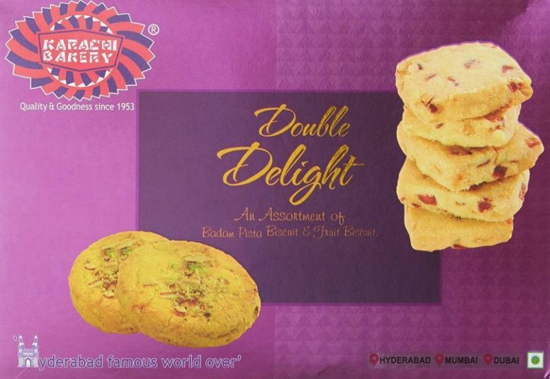 Karachi Bakery Pink Double Delight Badam Pista 400g (Pack of 2) Assorted Biscuit(400 g)