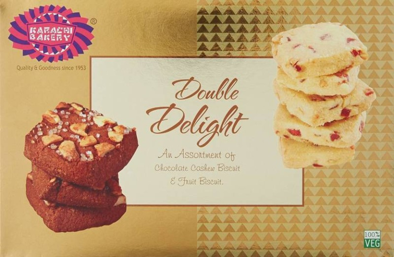 Karachi Bakery Gold Double Delight Chocolate Cashew & Fruit 400g (Pack of 2) Assorted Biscuit(400 g)
