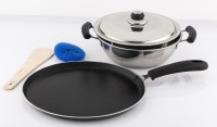 Mahavir Stainless Steel Induction Base Kadai - 220mm With Non Stick Induction Base Dos Tawa 260 Mm Cookware Set