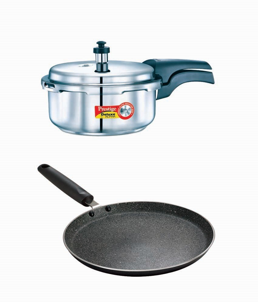 Prestige Deluxe Alpha Stainless Steel 2 Litre Cooker With Granite Omni Tawa 250mm Cookware Set