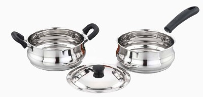 Sowbaghya SS 3Pcs Induction Base Cookware Set Cookware Set(Stainless Steel)