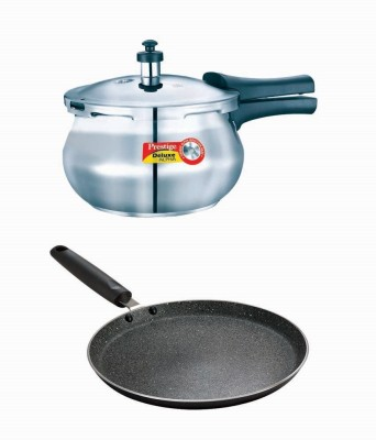 Prestige Deluxe Alpha Stainless Steel Baby Handi With Granite Omni Tawa 250 Mm Cookware Set(Stainless Steel, Aluminium, 2 - Piece)