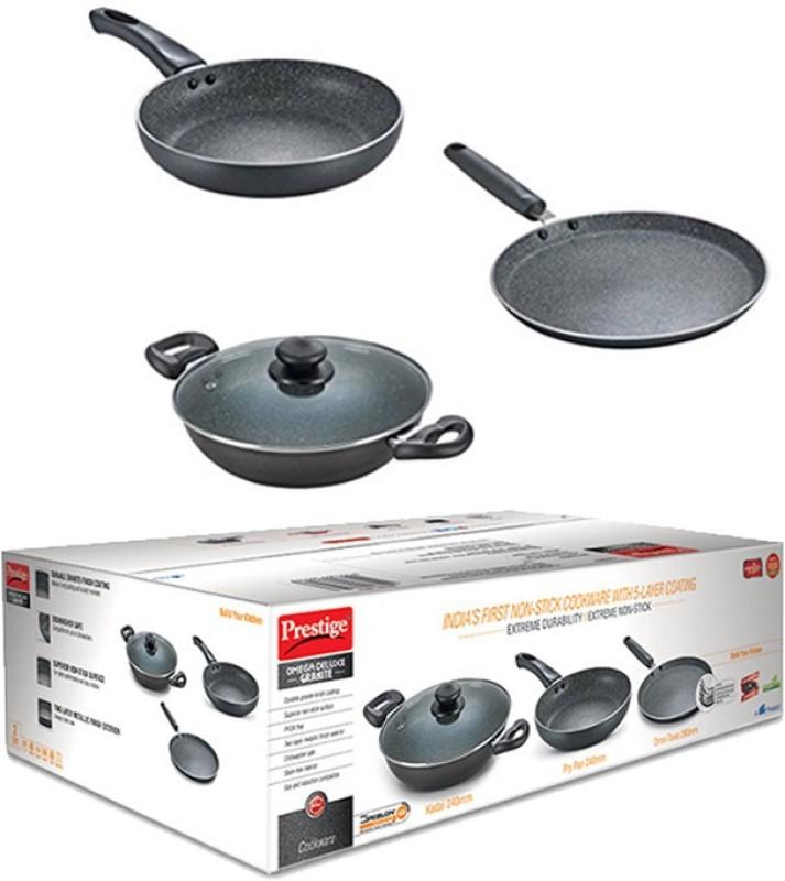 Prestige Omega Deluxe Granite Cookware Set(PTFE (Non-stick), 3 - Piece)
