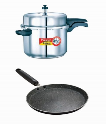 Prestige Deluxe Alpha Stainless Steel 8 Litre Cooker With Granite Omni Tawa 280 Mm Cookware Set(Stainless Steel, Aluminium, 2 - Piece)