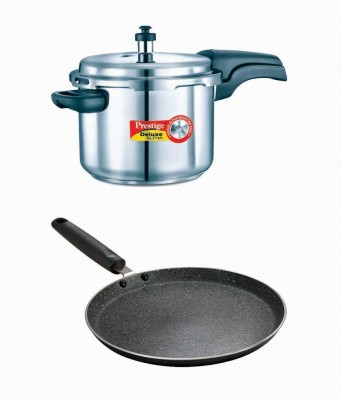 Prestige Deluxe Alpha Stainless Steel 6.5 Litre Cooker With Granite Omni Tawa 280 Mm Cookware Set