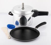 Mahavir Non Stick Induction Dosa Tawa 260mm With Induction Base Pressure Cooker 5l Cookware Set