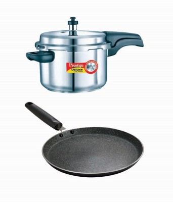Prestige Deluxe Alpha Stainless Steel 4 Litre Cooker With Granite Omni Tawa 250 Mm Cookware Set