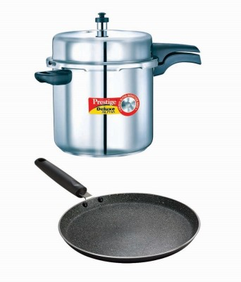 Prestige Deluxe Alpha Stainless Steel 10 Litre Cooker With Granite Omni Tawa 280 Mm Cookware Set(Stainless Steel, Aluminium, 2 - Piece)