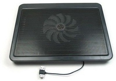 De TechInn USB Powered Metal Body Big Fan Stand For Laptop Notebook Blue Light Cooling Pad(Black, Multicolor)