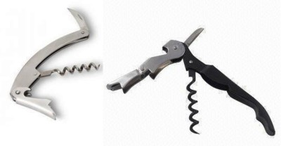 HOTWINE Combo Silver, Black Stainless Steel, Carbon Steel Twisting Pull Corkscrew(Pack of 2)