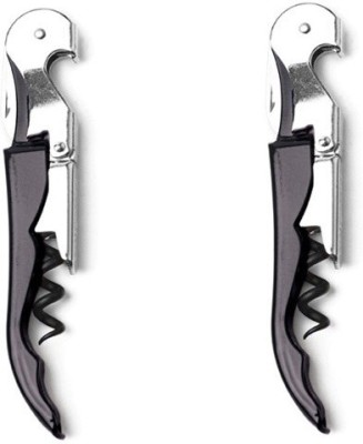 Hotwine Deluxe Black Stainless Steel, Carbon Steel Double Lever Corkscrew(Pack of 2)