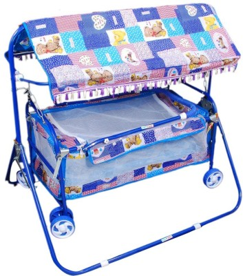 Brats N Angels Blue Baby Cradle Cum Cot Cum Stroller Bassinet